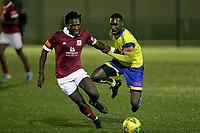 Jorge Djassi-Sambu of Haringey Borough and Joseph Boachie of Potters Bar during Haringey Borough vs Potters Bar Town, Pitching In Isthmian League Premier Division Football at Coles Park Stadium on 28th September 2021