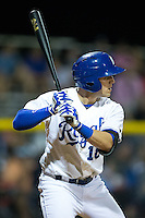 Colton Frabasilio (18) of the Burlington Royals at bat against the Johnson City Cardinals at Burlington Athletic Park on August 22, 2015 in Burlington, North Carolina.  The Cardinals defeated the Royals 9-3. (Brian Westerholt/Four Seam Images)