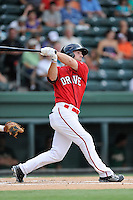 Center fielder Cole Sturgeon (35) of the Greenville Drive bats in a game against the Savannah Sand Gnats on Friday, August 22, 2014, at Fluor Field at the West End in Greenville, South Carolina. Sturgeon is a tenth-round pick of the Boston Red Sox in the 2014 First-Year Player Draft out of the University of Louisville. Greenville won, 6-5. (Tom Priddy/Four Seam Images)