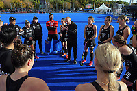 The Black Sticks huddle after the Sentinel Homes Trans Tasman Series hockey match between the New Zealand Black Sticks Women and the Australian Hockeyroos at Massey University Hockey Turf in Palmerston North, New Zealand on Sunday, 30 May 2021. Photo: Dave Lintott / lintottphoto.co.nz