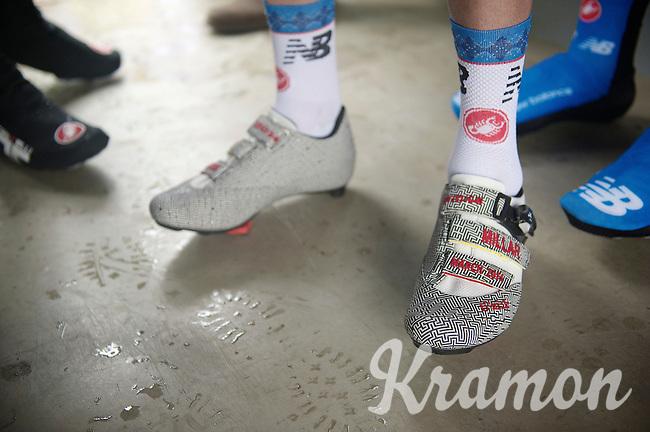 David Millar (GBR/Garmin-Sharp) customised cycling shoes<br /> <br /> Dwars Door Vlaanderen 2014