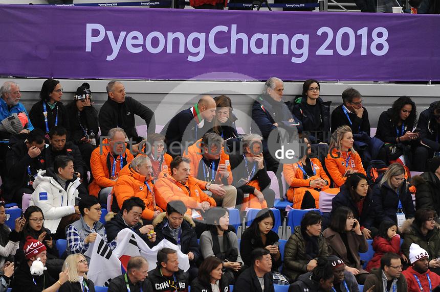 OLYMPIC GAMES: PYEONGCHANG: 17-02-2018, Gangneung Ice Arena, Short Track, Gerard Dielessen (NOC*NSF), André Bolhuis (NOC*NSF), Jeroen Bijl (Chef de Mission), ©photo Martin de Jong