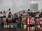 Mississippi Valley State Devilettes cheerleaders in action during the SWAC Tournament game between the Mississippi Valley State Devilettes and the Alabama A&M Bulldogs at the Special Events Center in Garland, Texas. Mississippi Valley State defeats Alabama A & M 52 to 51