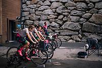 Team Parkhotel Valkenburg warming up for batlle<br /> <br /> UCI WOMEN'S TEAM TIME TRIAL<br /> Ötztal to Innsbruck: 54.5 km<br /> <br /> UCI 2018 Road World Championships<br /> Innsbruck - Tirol / Austria