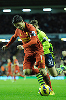 15.12.2012. Liverpool, England. Luis Suarez  of Liverpool   in action during the Premier League game between Liverpool and Aston Villa from Anfield,Liverpool