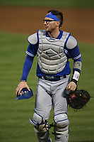 OAKLAND, CA - MAY 3:  Danny Jansen #9 of the Toronto Blue Jays works during the game against the Oakland Athletics at the Oakland Coliseum on Monday, May 3, 2021 in Oakland, California. (Photo by Brad Mangin)