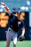 Richie Sexson of the Cleveland Indians plays in a baseball game at Edison International Field during the 1998 season in Anaheim, California. (Larry Goren/Four Seam Images)