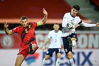 15th November 2020; Leuven, Belgium;  Mason Mount midfielder of England shoots the ball in front of Jan Vertonghen defender of Belgium during the UEFA Nations League match group stage final tournament - League A - Group 2 between Belgium and England