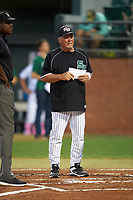 Stetson Hatters Pete Dunn during the lineup exchange before a game against the Siena Saints on February 23, 2016 at Melching Field at Conrad Park in DeLand, Florida.  Stetson defeated Siena 5-3.  (Mike Janes/Four Seam Images)