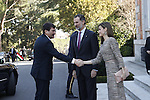 """King Felipe VI of Spain and Queen Letizia of Spain offered a lunch at His Excellencies the President of the Republic of Hungary, Mr. Janos Ader, and Ms. Anita Herczegh, on the occasion of their trip to Spain to inaugurate the exhibition """"Masterpieces From the Renaissance to the Vanguards """", which brings together in the Thyssen-Bornemisza Museum a careful selection of 90 works from the permanent collection of the Museum of Fine Arts in Budapest and the Hungarian National Gallery. February 17 ,2017. (ALTERPHOTOS/Pool)"""