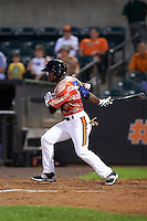 Aberdeen Ironbirds designated hitter Cedric Mullins (6) at bat during a game against the Tri-City ValleyCats on August 6, 2015 at Ripken Stadium in Aberdeen, Maryland.  Tri-City defeated Aberdeen 5-0 in a combined no-hitter.  (Mike Janes/Four Seam Images)
