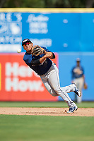 Lakeland Flying Tigers shortstop Isaac Paredes (3) throws to first base during a game against the Dunedin Blue Jays on May 27, 2018 at Dunedin Stadium in Dunedin, Florida.  Lakeland defeated Dunedin 2-1.  (Mike Janes/Four Seam Images)