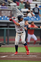 Mahoning Valley Scrappers Aaron Bracho (12) at bat during a NY-Penn League game against the Auburn Doubledays on August 27, 2019 at Falcon Park in Auburn, New York.  Auburn defeated Mahoning Valley 3-2 in ten innings.  (Mike Janes/Four Seam Images)