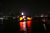 CHINA. Shanghai. A boat with a large television crusising down the HuangPo River.  Shanghai is a sprawling metropolis or 15 million people situated in south-east China. It is regarded as the country's showcase in development and modernity in modern China. This rapid development and modernization, never seen before on such a scale has however spawned countless environmental and social problems. 2008