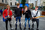 'Aftershock'  Kerry's newest rock band who plan to busk in Tralee and Killarney over the summer. L to r: Coren Hughes, Seamus Fleming, Conor and Daragh Breen
