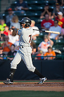 Ricardo Andujar (7) of the Delmarva Shorebirds follows through on his swing against the Hickory Crawdads at L.P. Frans Stadium on June 18, 2016 in Hickory, North Carolina.  The Shorebirds defeated the Crawdads 4-2 in game two of a double-header.  (Brian Westerholt/Four Seam Images)