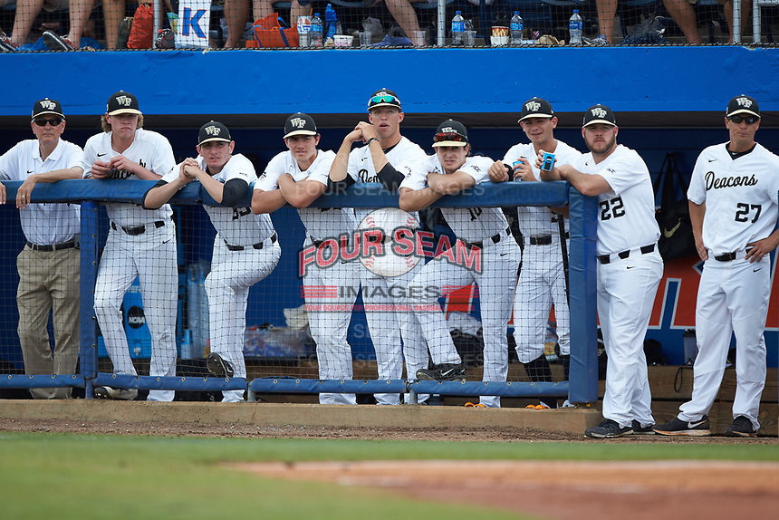 The Wake Forest Demon Deacons bench looks on from the dugout during the game against the Florida Gators in Game Two of the Gainesville Super Regional of the 2017 College World Series at Alfred McKethan Stadium at Perry Field on June 11, 2017 in Gainesville, Florida.  (Brian Westerholt/Four Seam Images)