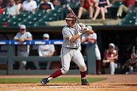 Cal Raleigh (35) of the Florida State Seminoles at bat against the Louisville Cardinals in Game Eleven of the 2017 ACC Baseball Championship at Louisville Slugger Field on May 26, 2017 in Louisville, Kentucky. The Seminoles defeated the Cardinals 6-2. (Brian Westerholt/Four Seam Images)