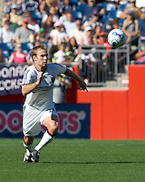 Bryan Namoff (DC United, white) tracks down a Revolution clear. DC United defeated the New England Revolution, 3-0, at Gillette Stadium on August 5, 2007.