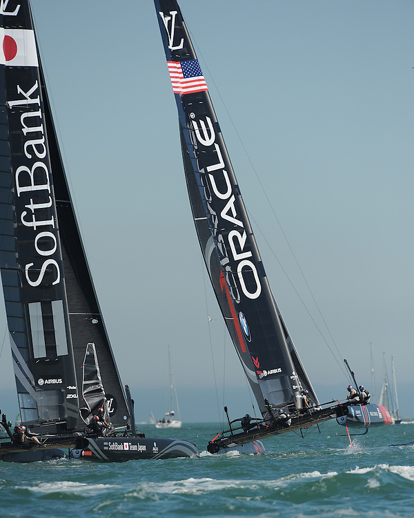 Oracle Team USA, JULY 23, 2016 - Sailing: Oracle Team USA leads SoftBank Team Japan upwind during day one of the Louis Vuitton America's Cup World Series racing, Portsmouth, United Kingdom. (Photo by Rob Munro/AFLO)
