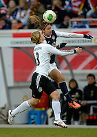 Offenbach, Germany, Friday, April 05 2013: Womans, Germany vs. USA, in the Stadium in Offenbach,   Linda Bresonik (GER), Alex Morgan (USA)..