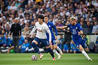 19th September 2021; Tottenham Hotspur Stadium, Tottenham, London; Son Heung-min, Jorginho and Mason Mount during the Premier League match between Tottenham Hotspur and Chelsea at Tottenham Hotspur Stadium