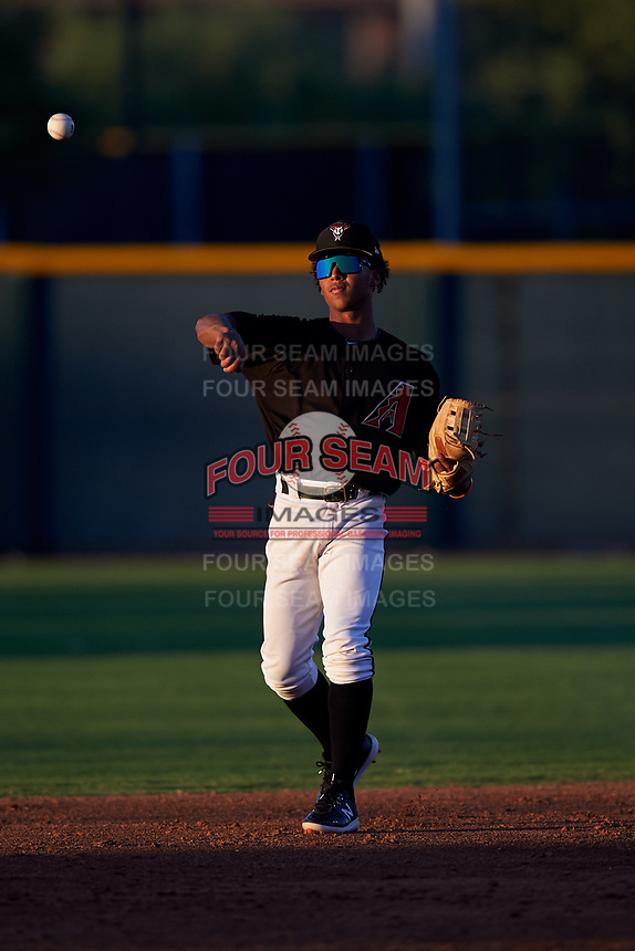 AZL D-backs second baseman Glenallen Hill Jr. (6) during an Arizona League game against the AZL Angels on July 20, 2019 at Salt River Fields at Talking Stick in Scottsdale, Arizona. The AZL Angels defeated the AZL D-backs 11-4. (Zachary Lucy/Four Seam Images)