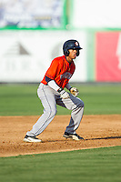 Antonio Nunez (1) of the Greeneville Astros takes his lead off of second base against the Burlington Royals at Burlington Athletic Park on June 29, 2014 in Burlington, North Carolina.  The Royals defeated the Astros 11-0. (Brian Westerholt/Four Seam Images)