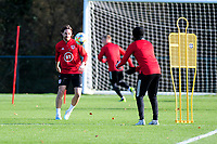 Pictured: Joe Allen of Wales in action during the Wales Training Session at The Vale Resort in Cardiff, Wales, UK. Monday 11 November 2019