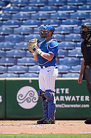 Memphis Tigers catcher Hunter Goodman (35) during a game against the East Carolina Pirates on May 25, 2021 at BayCare Ballpark in Clearwater, Florida.  (Mike Janes/Four Seam Images)