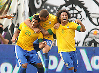 Brazil forward Hulk (20) celebrates his score in the 72th minute of the game with teammates Bruno and Marcelo. The Argentina National Team defeated Brazil 4-3 at MetLife Stadium, Saturday July 9 , 2012.