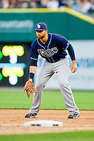 Tampa Bay Rays first baseman James Loney (21) on defense against the Detroit Tigers at Comerica Park on June 4, 2013 in Detroit, Michigan.  The Tigers defeated the Rays 10-1.  Brian Westerholt/Four Seam Images