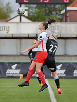 Romy Camps (3) of Zulte-Waregem and Stephanie Van Gils (27) of Eendracht Aalst  battle for the high ball during a female soccer game between SV Zulte - Waregem and Eendracht Aalst on the 9 th matchday in play off 2 of the 2020 - 2021 season of Belgian Scooore Womens Super League , saturday 22 nd of May 2021  in Zulte , Belgium . PHOTO SPORTPIX.BE   SPP   DIRK VUYLSTEKE
