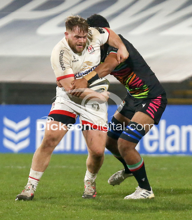 19th March 2021;   Callum Reid is tackled by Charles Alaimalo during the final round of the Guinness PRO14 against Zebre Rugby held at Kingspan Stadium, Ravenhill Park, Belfast, Northern Ireland. Photo by John Dickson/Dicksondigital