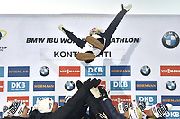 14th March 2020; Kontiolahti, Finland;  Kaisa makarainen of Finland bumped airborne by the team after for womens 10 km Pursuit competition at the IBU Biathlon World Cup after makarainen announced in a statement on Saturday that she would end her career today, at the end of the season.