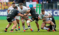16 November 2019; Iain Henderson is tackled by Zach Mercer and Will Stuart during the Heineken Champions Cup Pool 3 Round 1 match between Bath and Ulster at The Recreation Ground in Bath, England. Photo by John Dickson/DICKSONDIGITAL