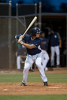 AZL Padres 2 designated hitter Jonny Homza (17) at bat during an Arizona League game against the AZL Padres 1 at Peoria Sports Complex on July 14, 2018 in Peoria, Arizona. The AZL Padres 1 defeated the AZL Padres 2 4-0. (Zachary Lucy/Four Seam Images)