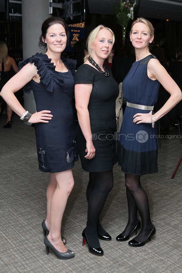 NO FEE 14/10/2010.  Bóthar's Rugby Rocks Fashion.  Sinead Baggott, Aoife Gibsonn and Louise Chawkeare pictured at Bóthar's Rugby Rocks Fashion fundraising event at the Aviva Stadium in Dublin on Thursday night were {insert names here}. All proceeds from the event go towards Bóthar's projects in Pakistan. To find out more about Bóthar's work in Pakistan or in any of the 35 project countries Bóthar works in, lo-call 1850 82 99 99 or visit www.bothar.org. Picture James Horan/Colllins Photos