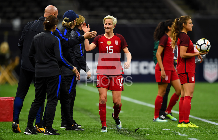 New Orleans, LA - Thursday October 19, 2017: Megan Rapinoe celebrates a goal during an International friendly match between the Women's National teams of the United States (USA) and South Korea (KOR) at Mercedes Benz Superdome.