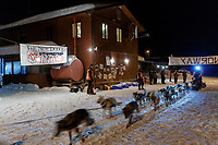 Linwood Fiedler leaves the Takotna checkpoint after their 24-hour layover on Thursday, March 8th during the 2018 Iditarod Sled Dog Race -- Alaska<br /> <br /> Photo by Jeff Schultz/SchultzPhoto.com  (C) 2018  ALL RIGHTS RESERVED