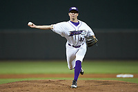 Winston-Salem Dash relief pitcher Wyatt Burns (31) delivers a pitch to the plate against the Wilmington Blue Rocks at BB&T Ballpark on April 15, 2019 in Winston-Salem, North Carolina. The Dash defeated the Blue Rocks 9-8. (Brian Westerholt/Four Seam Images)