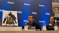 Raphael Lacoste, Franchise Art Director on Assassin's Creed (L)<br /> and<br /> Anouk Bachman, Publishing Content Manager (R) meet the public at Indigo book store in downtown Montreal, november 7, 2015