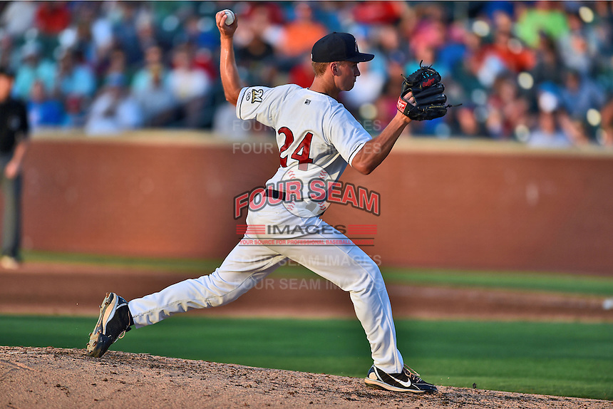 Huntsville Stars pitcher Brent Suter #24 delivers a pitch during the Southern League All Star game at AT&T Field on June 17, 2014 in Chattanooga, Tennessee. The Southern Division defeated the Northern Division 6-4. (Tony Farlow/Four Seam Images)