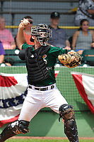 Marcus Littlewood #23 of the Clinton LumberKings throws to second base against the Kane County Cougars at Ashford University Field on July 6, 2014 in Clinton, Iowa. The LumberKings won 1-0.   (Dennis Hubbard/Four Seam Images)