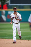 Rochester Red Wings center fielder Byron Buxton (53) during a game against the Indianapolis Indians on May 26, 2016 at Frontier Field in Rochester, New York.  Indianapolis defeated Rochester 5-2.  (Mike Janes/Four Seam Images)