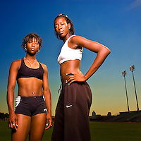 Marshevet Hooker, left, and her younger sister Destinee, right, are photographed at the Mike Meyers Track Stadium in Austin, Texas on Friday, May 5, 2006.  Destinee and Marshevet have been standout athletes on the Longhorn track team so far this season, and they hope to lead their team to victory in the upcoming Big XII meet as well.