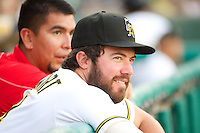 Ian Stewart (4) of the Salt Lake Bees during the game against the Tacoma Rainiers in Pacific Coast League action at Smith's Ballpark on July 9, 2014 in Salt Lake City, Utah.  (Stephen Smith/Four Seam Images)