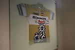 Race winning jerseys on dispaly in reception Bianchi Factory, Treviglio, Italy. 30th September 2015.<br /> Picture: Eoin Clarke | Newsfile