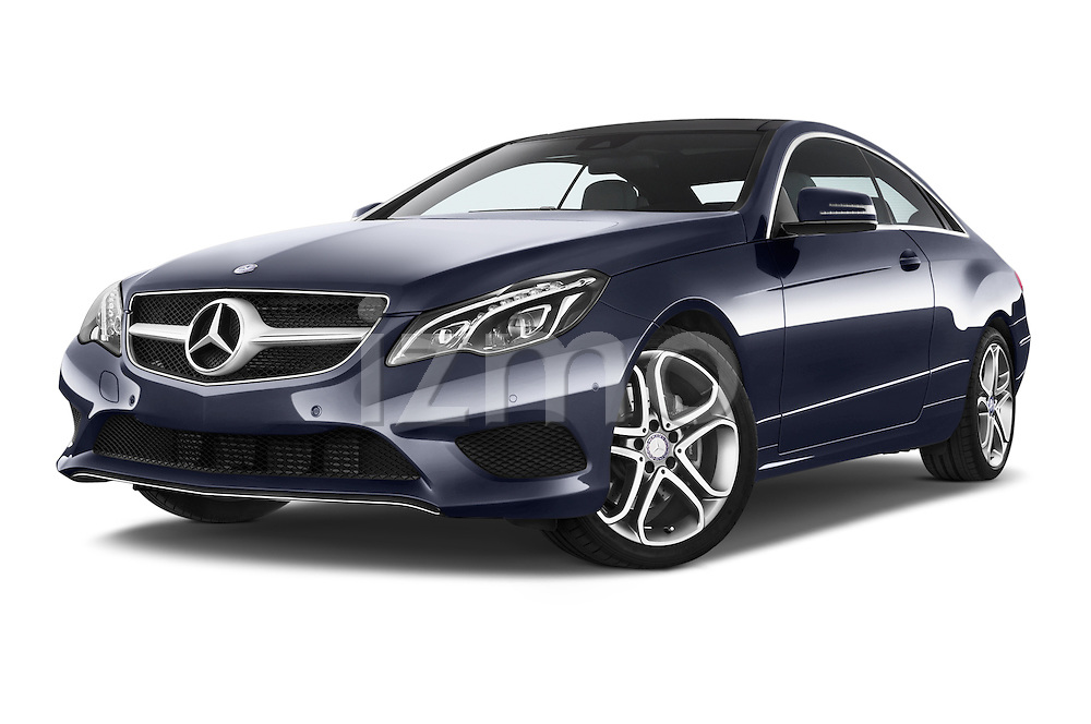 Stock pictures of low aggressive front three quarter view of2013 Mercedes Benz E Class 220 2 Door Coupe Low Aggressive