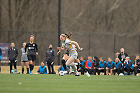 LOUISVILLE, KY - MARCH 13: Jordan Brewster #10 of West Virginia University and Cece Kizer #5 of Racing Louisville FC run down the ball during a game between West Virginia University and Racing Louisville FC at Thurman Hutchins Park on March 13, 2021 in Louisville, Kentucky.